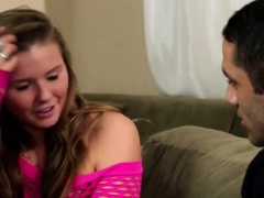 Sweet blonde teen gives a...