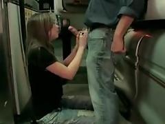 Strangers fuck teen in car station