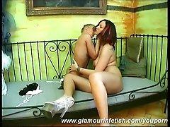 Lesbian glamour babes in nylon
