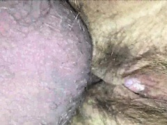 Hairy pussy being fucked - closeup