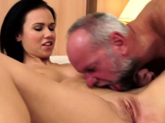 Young babe blows old guy