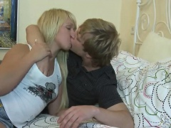 Young couple passionate foreplay