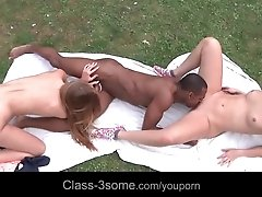 Awesome interracial trio outdoor