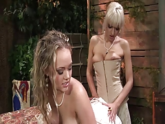 Two horny blonde having lesbian sex