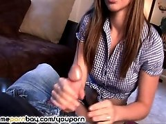 Handjob from cute amateur teen GF