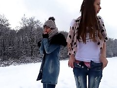 sexxylorry play and cum in snow