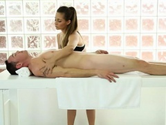 Tight masseuse blowjobs her...