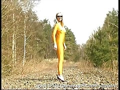 Katherina in yellow spandex in...