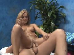 Lovely massage girl stuffs her...