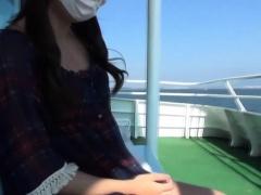 Japanese teen shows ass