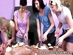 Ladies eating cake of nude male...