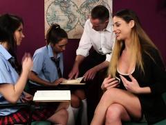 Teenage domina mocks nerd